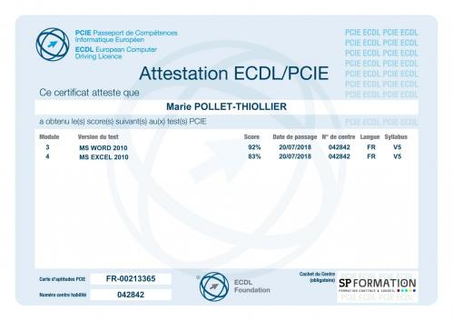 Certificat pcie word excel pollet marie sp formation 200718