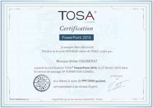 Certificat tosa powerpoint 2016 jerome v sp formation