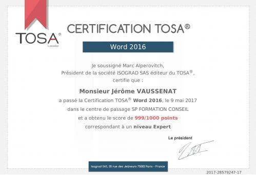 Certificat word jerome vaussenat sp formation annecy haute savoie