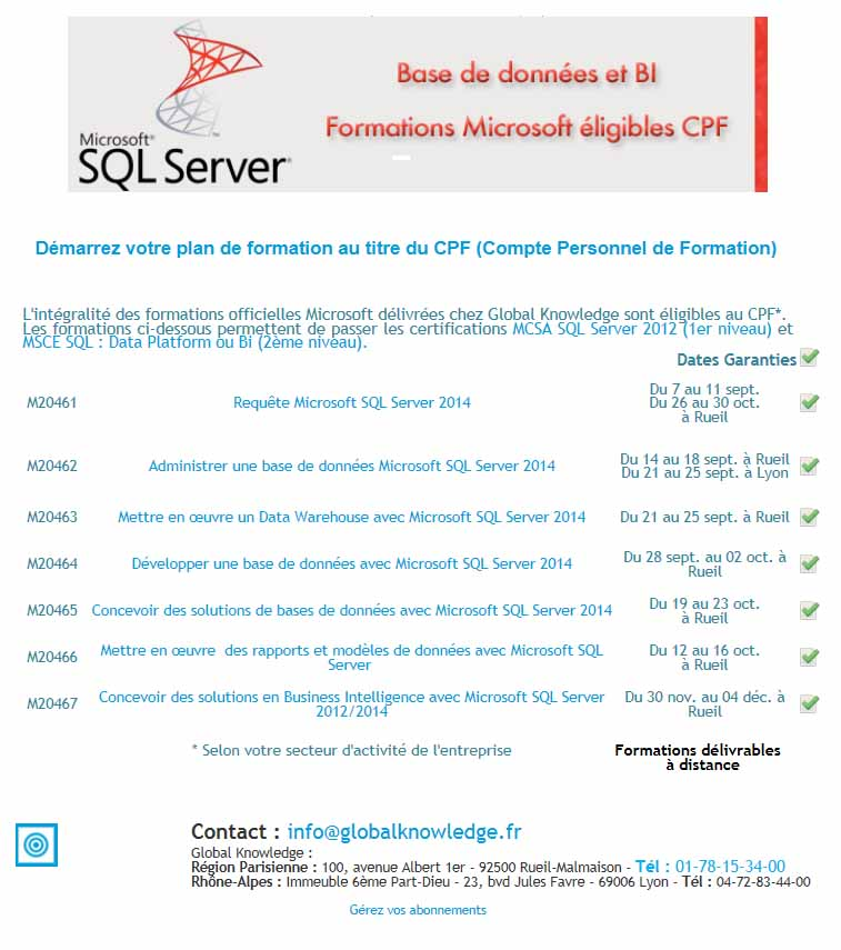 Spformation bd bi microsoft cpf
